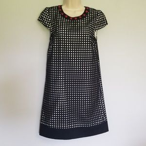 Kensie Black & White Layered Checked Dress XS